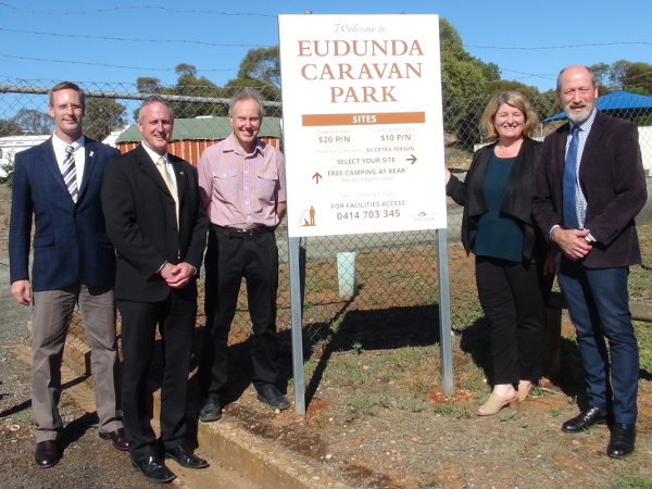 Official Party at the Eudunda Caravan park Sign